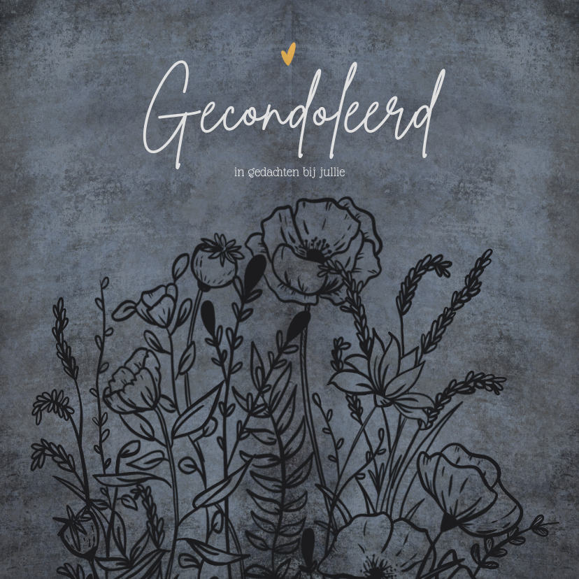 Condoleancekaarten - Klassieke condoleancekaart in grijstinten met wilde bloemen