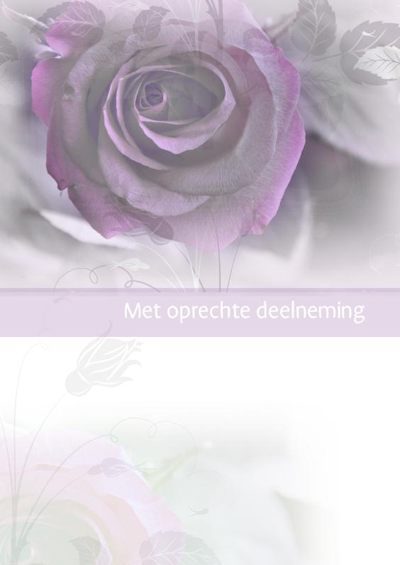 Condoleancekaarten - Met oprechte deelneming met roos