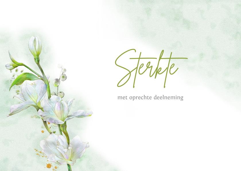Condoleancekaarten - Mooie condoleancekaart met witte bloemen op waterverf