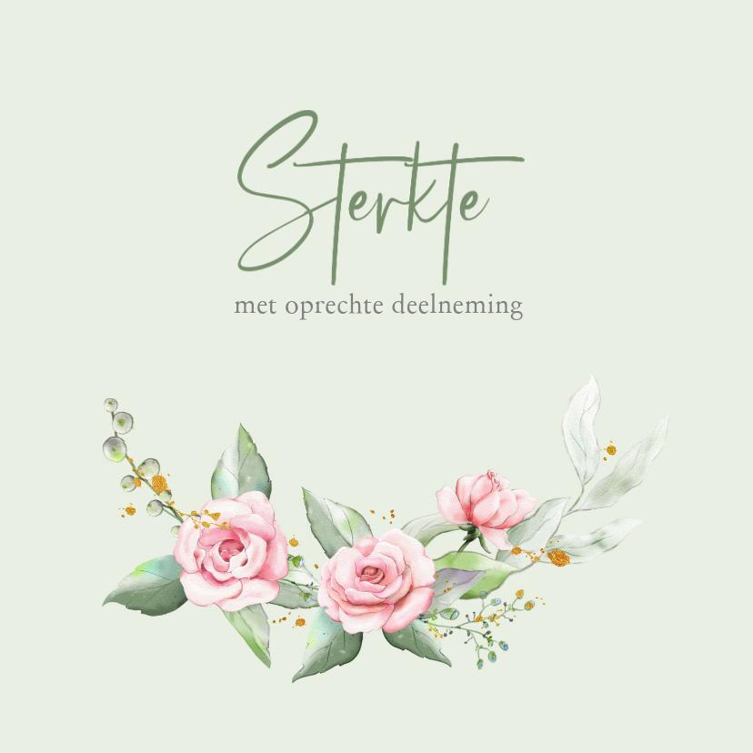 Condoleancekaarten - Mooie klassieke condoleancekaart met roosjes en takjes