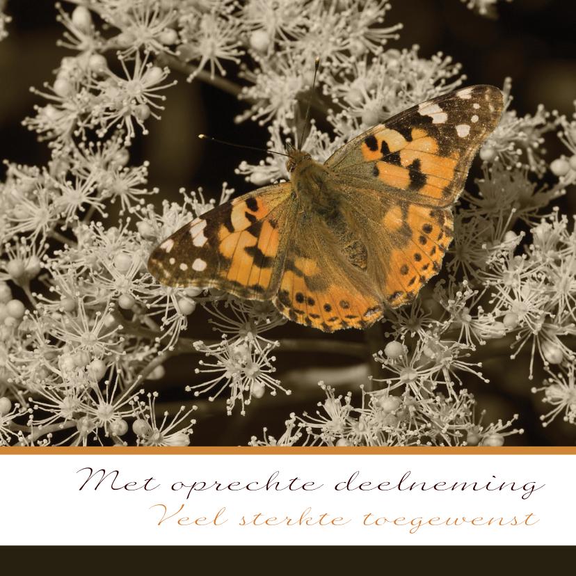 Condoleancekaarten - Oranje vlinder op zwartwit