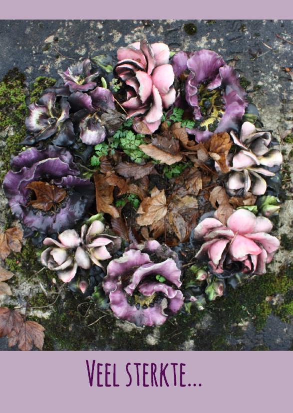 Condoleancekaarten - Rouwkaart bloemenkrans paars