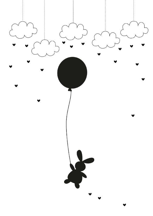 Condoleancekaarten - Rouwkaart konijn meisje