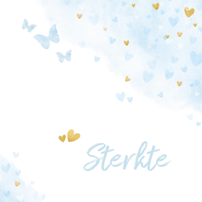 Condoleancekaarten - Sterkte met blauwe en gouden hartjes