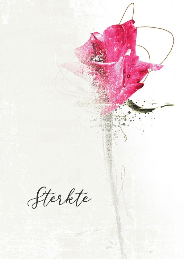 Condoleancekaarten - Sterktekaart in gedachten roze roos