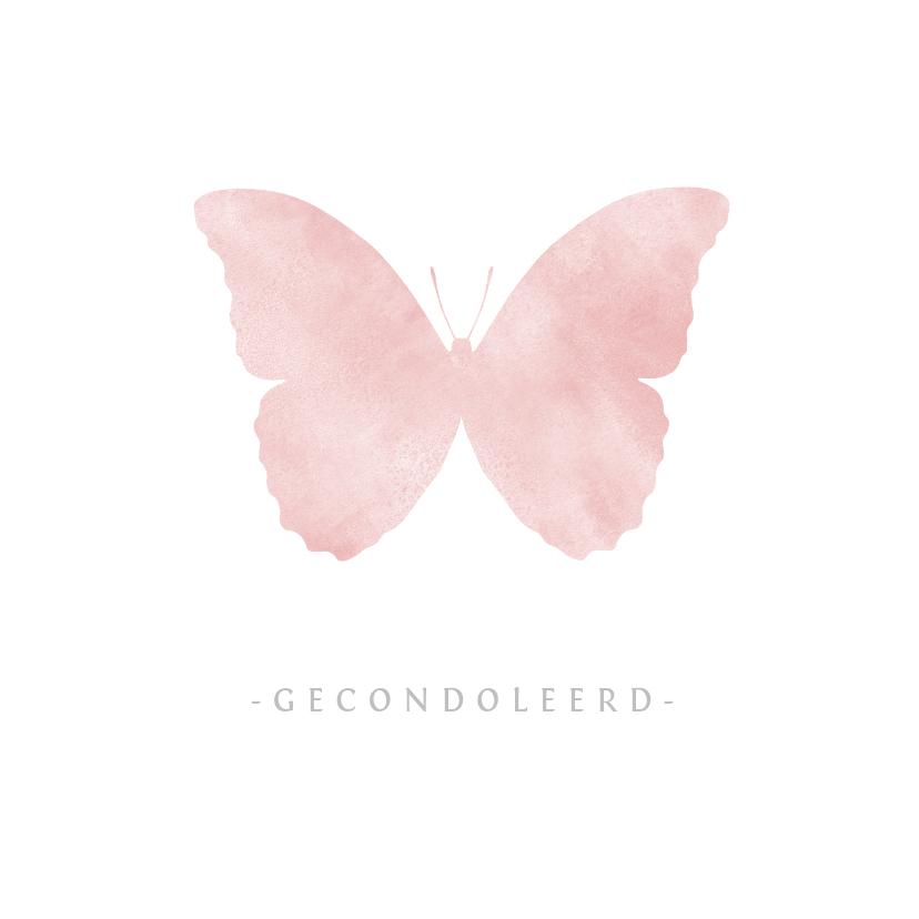 Condoleancekaarten - Stijlvolle condoleance kaart met waterverf vlinder meisje