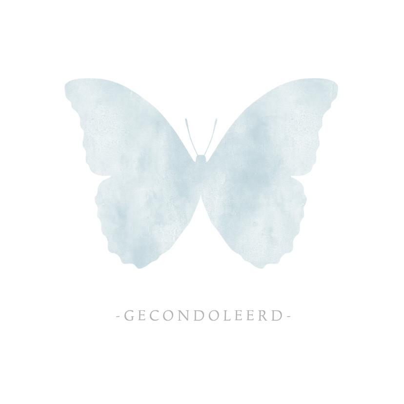 Condoleancekaarten - Stijlvolle moderne condoleance kaart met waterverf vlinder