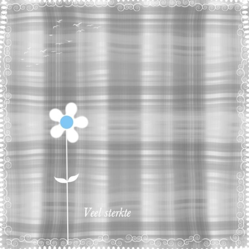 Condoleancekaarten - Veel sterkte bloemetje lichtblauw
