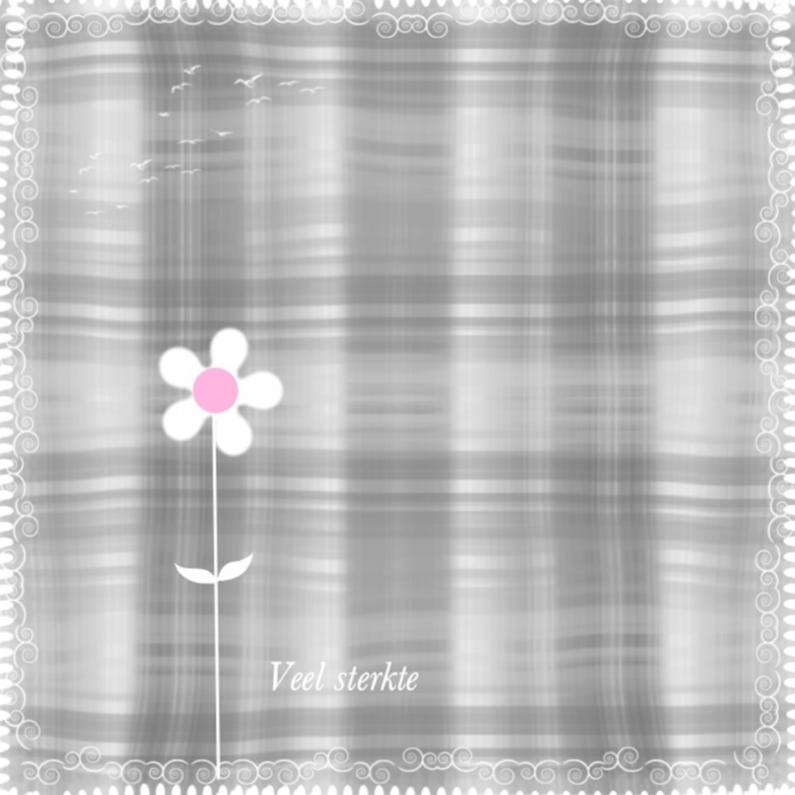 Condoleancekaarten - Veel sterkte bloemetje roze