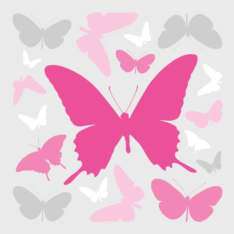 Condoleancekaarten - Vlinders roze met grijs