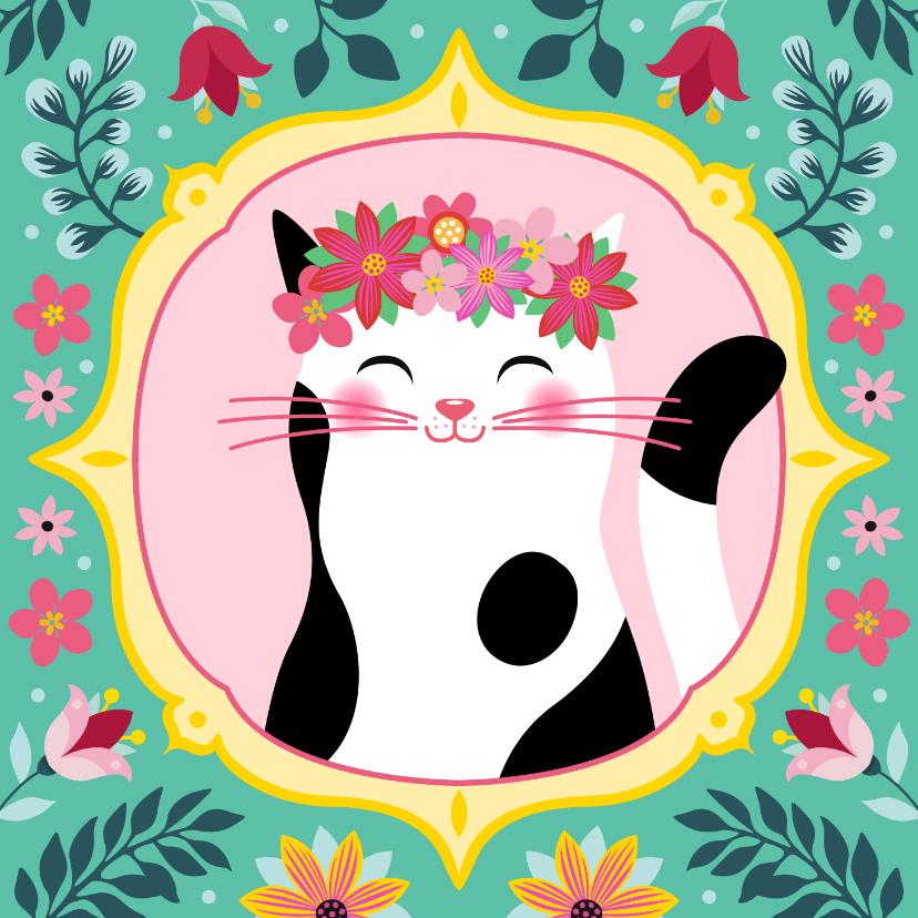 Dierenkaarten - Botanische dierenkaart kat