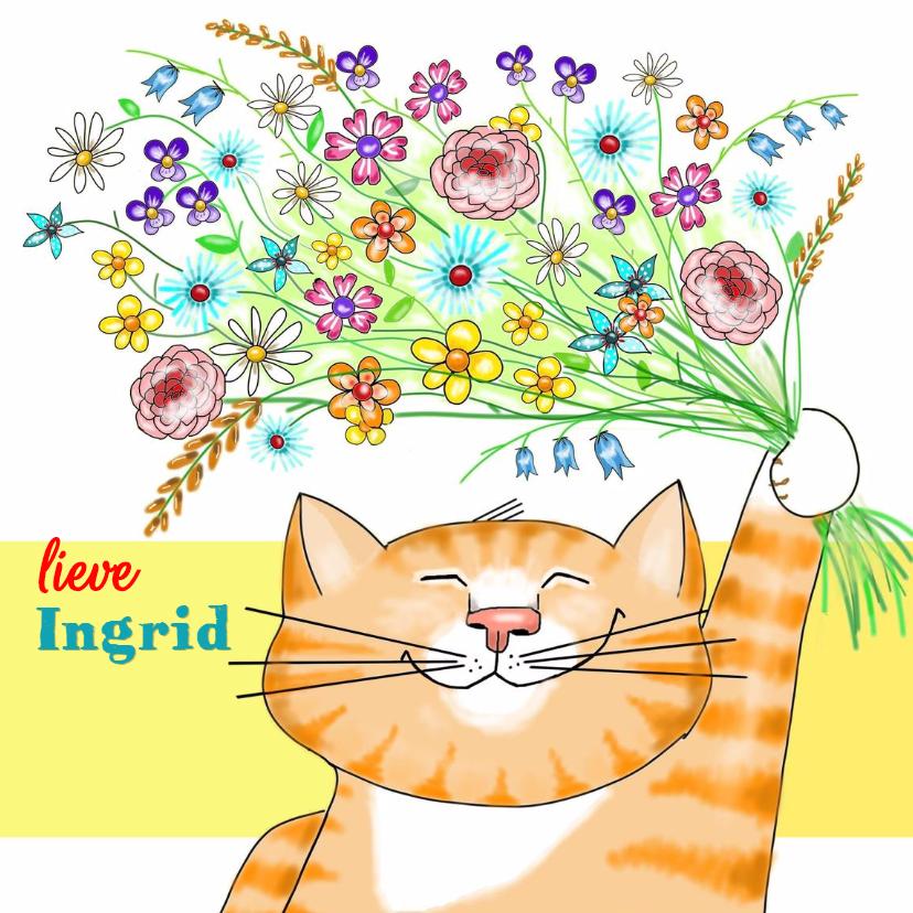 Dierenkaarten - Dieren - kat met bloemen