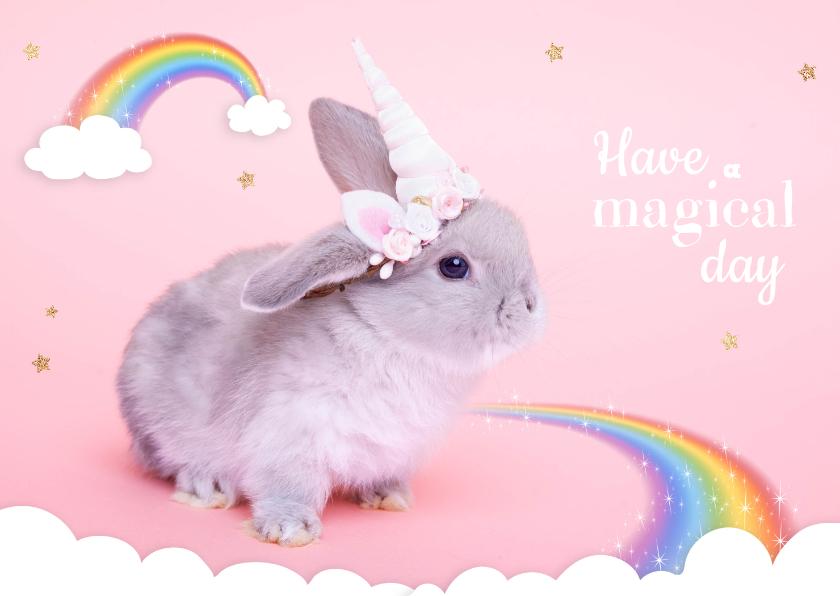 Dierenkaarten - Dierenkaart - Eenhoorn konijntje regenboog