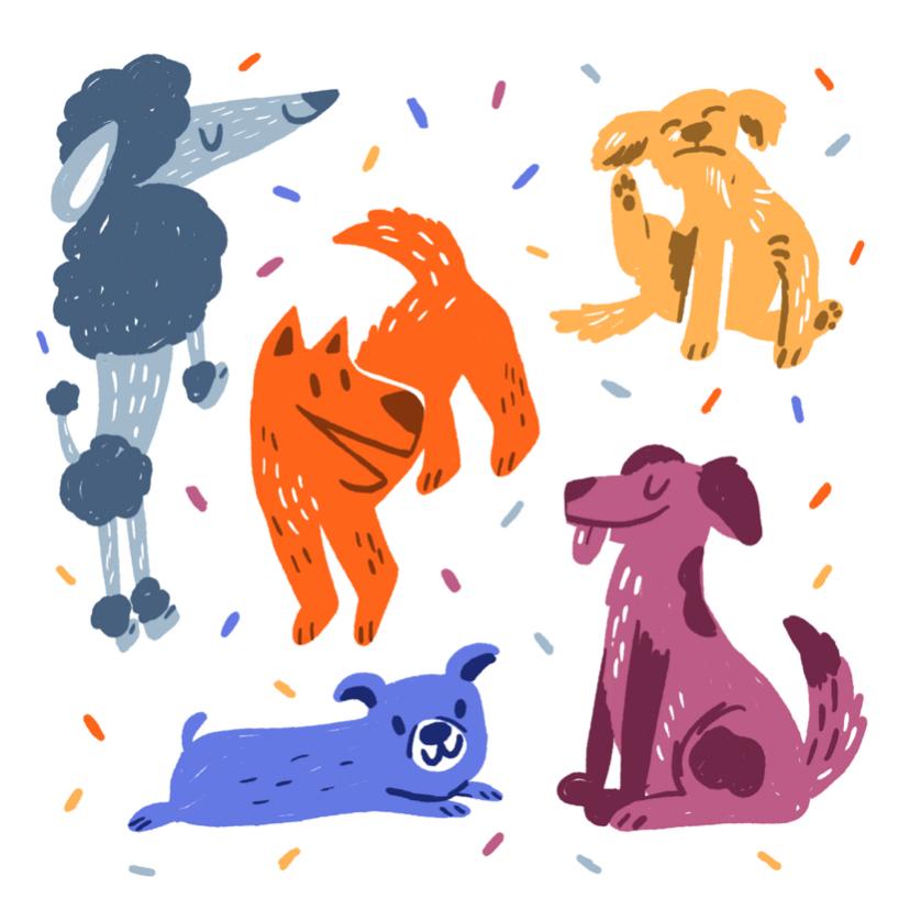Dierenkaarten - Dierenkaart feestelijke honden