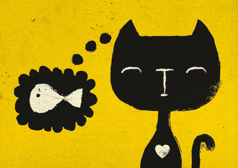Dierenkaarten - Dierenkaart Geel Zwarte Kat