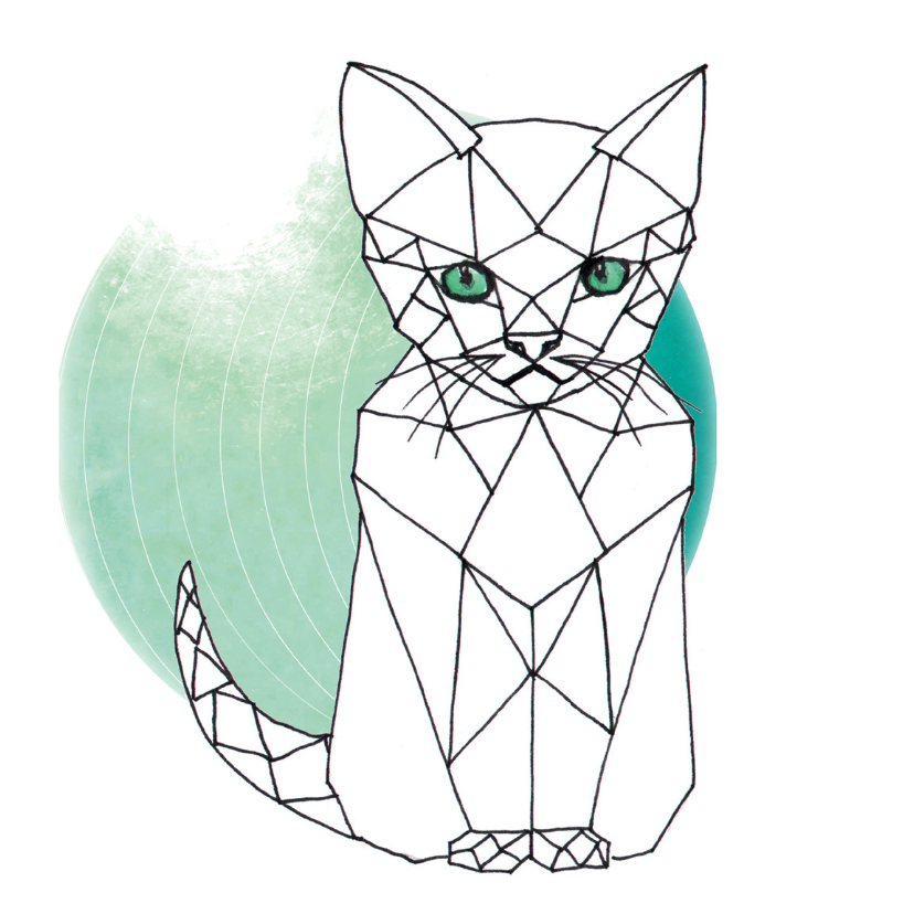 Dierenkaarten - Dierenkaart Grafische Kat