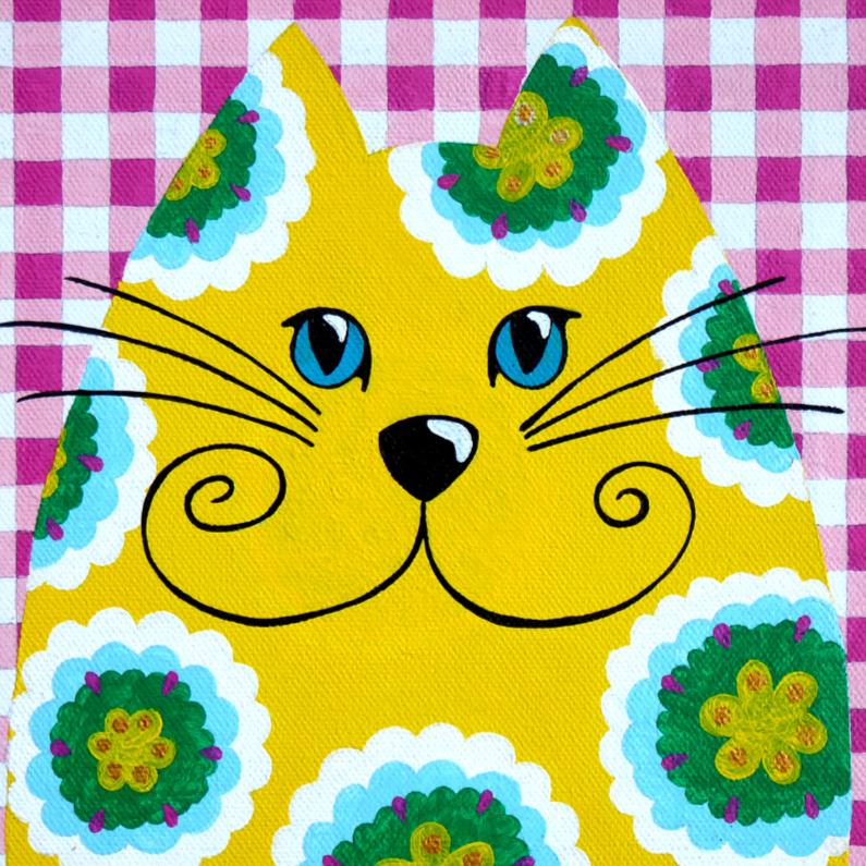 Dierenkaarten - Dierenkaart hippie kat