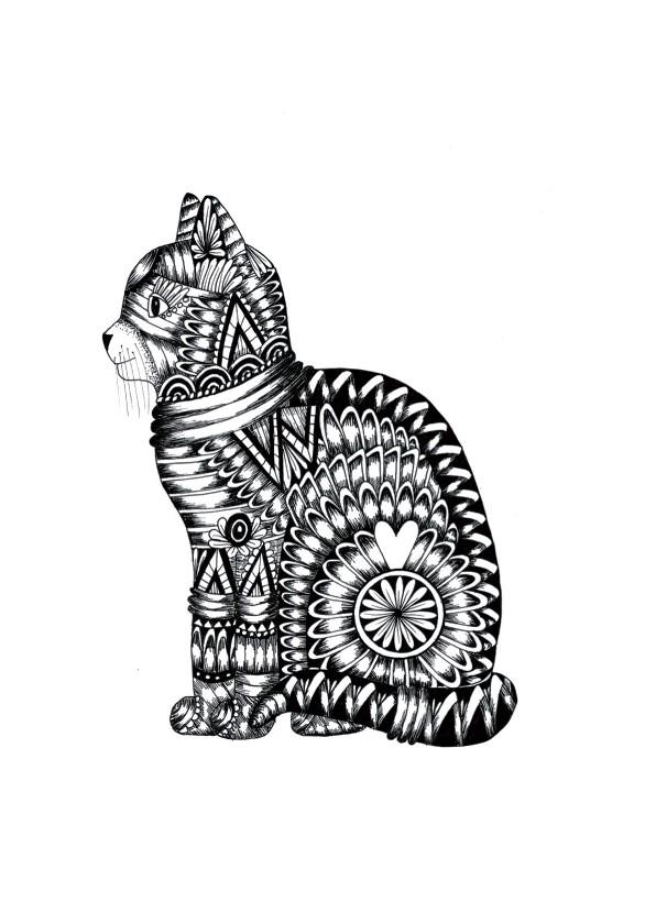 Dierenkaarten - Dierenkaart Kat zwart-wit illustratie