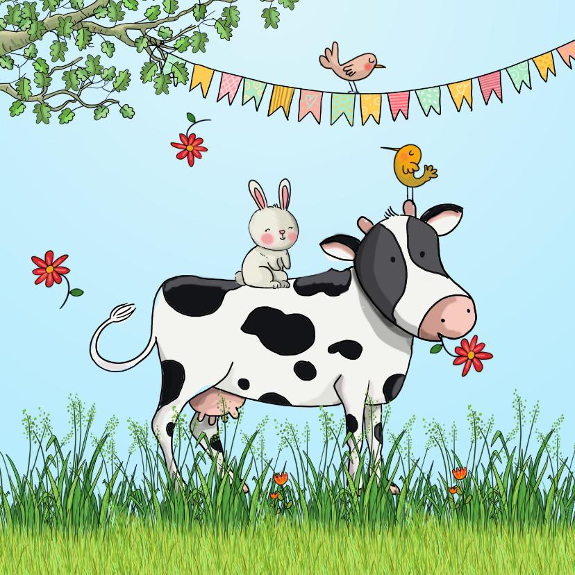 Dierenkaarten - Dierenkaart koe konijn en vogel