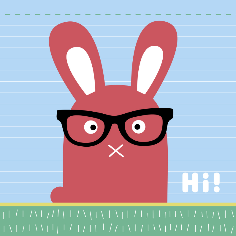Dierenkaarten - Dierenkaart-Konijn met bril-HK