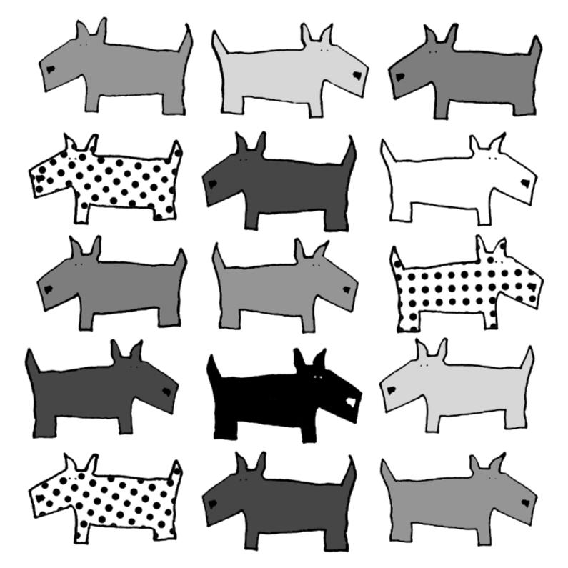 Dierenkaarten - Dierenkaart met honden in zwart-wit