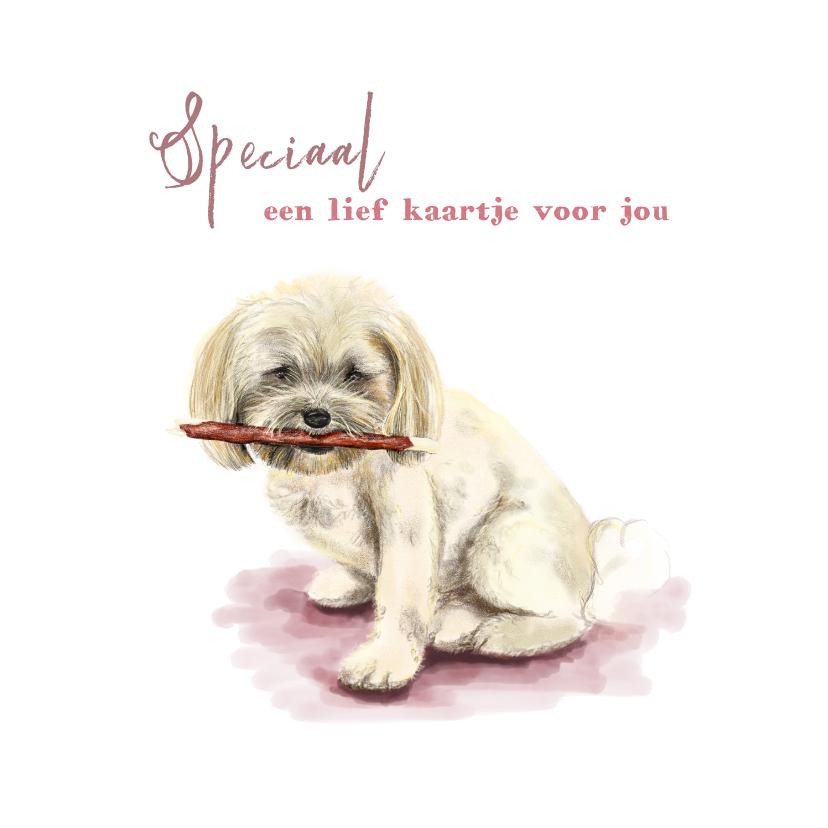Dierenkaarten - Dierenkaart tekening van een lief hondje