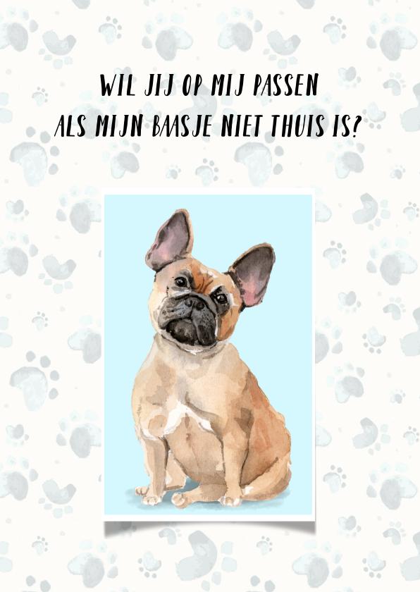 Dierenkaarten - Dierenkaart uitnodiging voor oppas hond