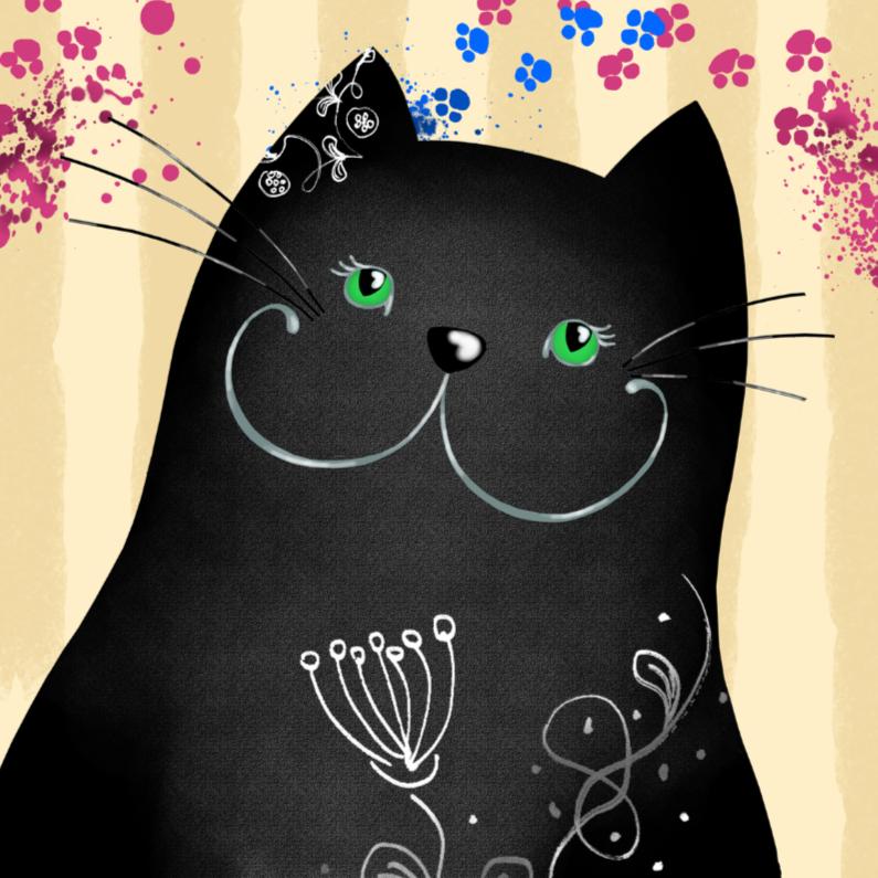 Dierenkaarten - Dierenkaart zwarte kat