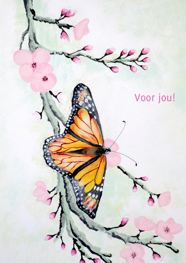 Dierenkaarten - Dierenkaarten - Vlinder met bloesem