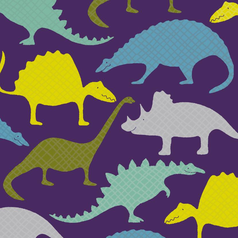 Dierenkaarten - Dinosauriërs paars