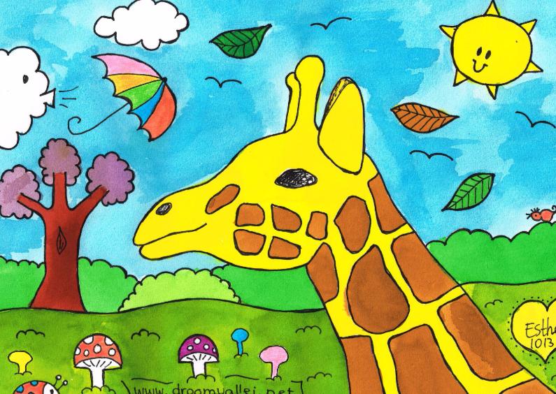 Dierenkaarten - Giraf in de storm