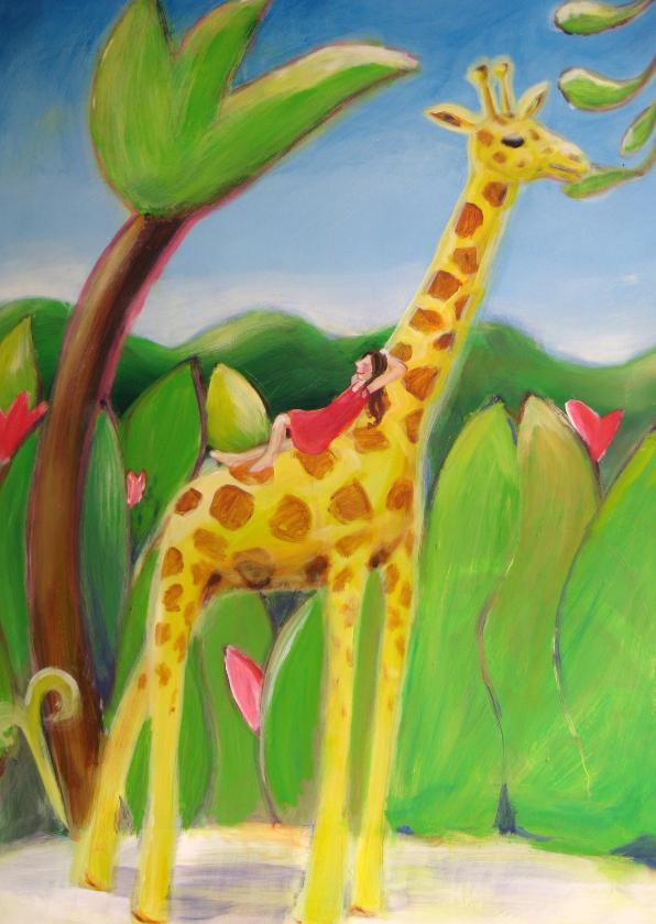 Dierenkaarten - Giraf met meisje