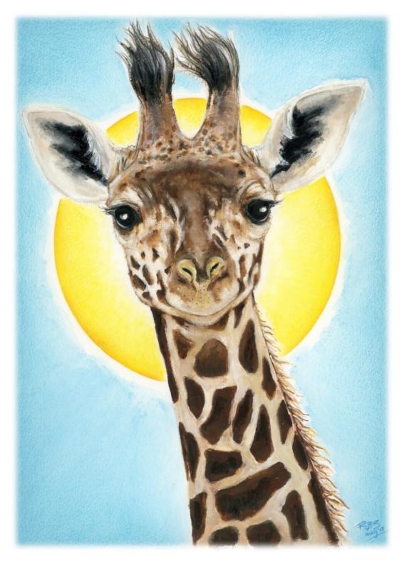 Dierenkaarten - Giraffe in zonlicht
