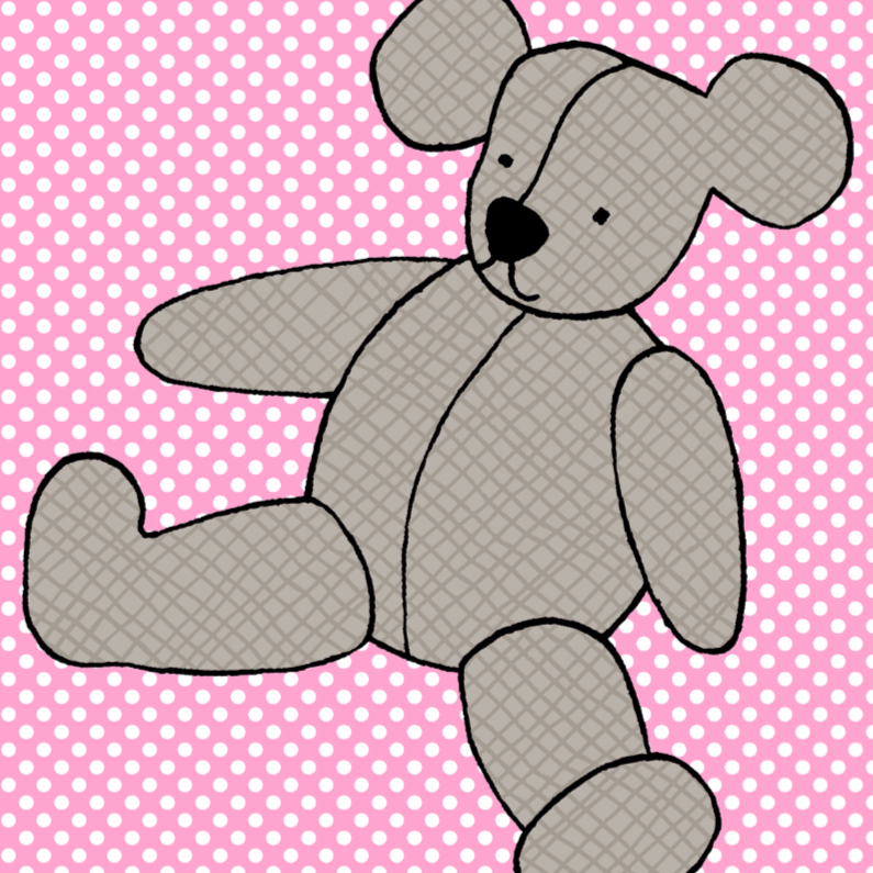 Dierenkaarten - Grijze beer op roze stippen