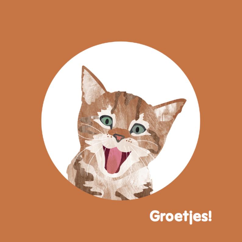 Dierenkaarten - Kat steekt tong uit