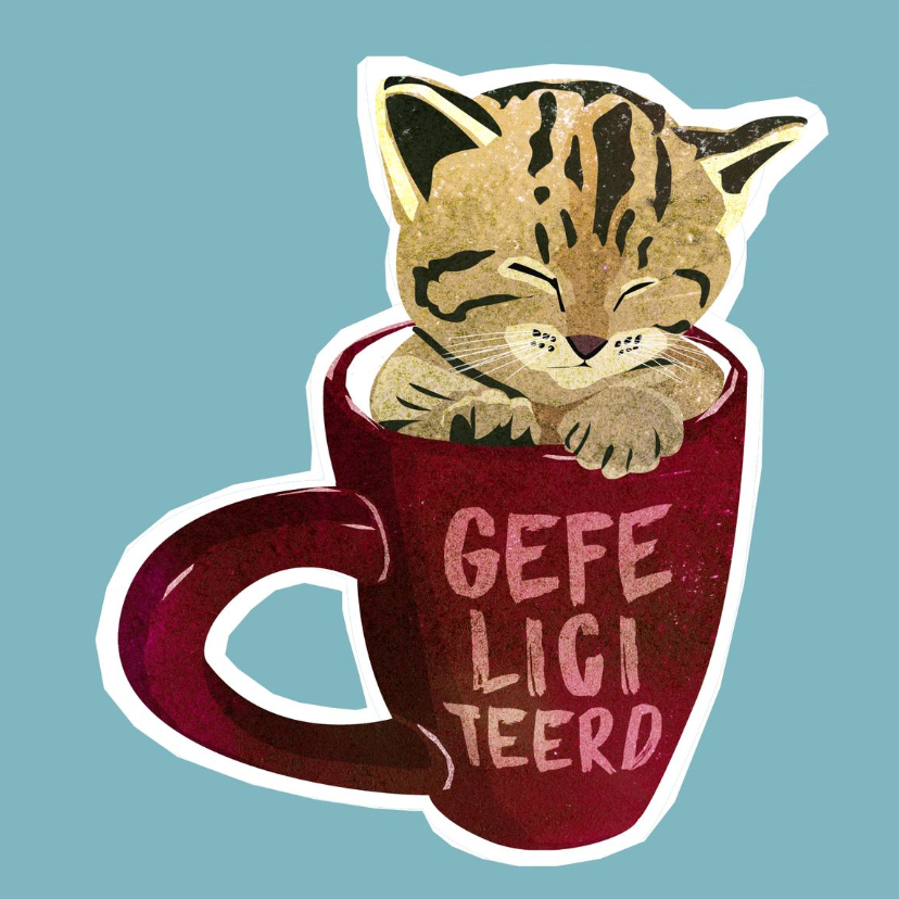 Dierenkaarten - Kitten in a teacup