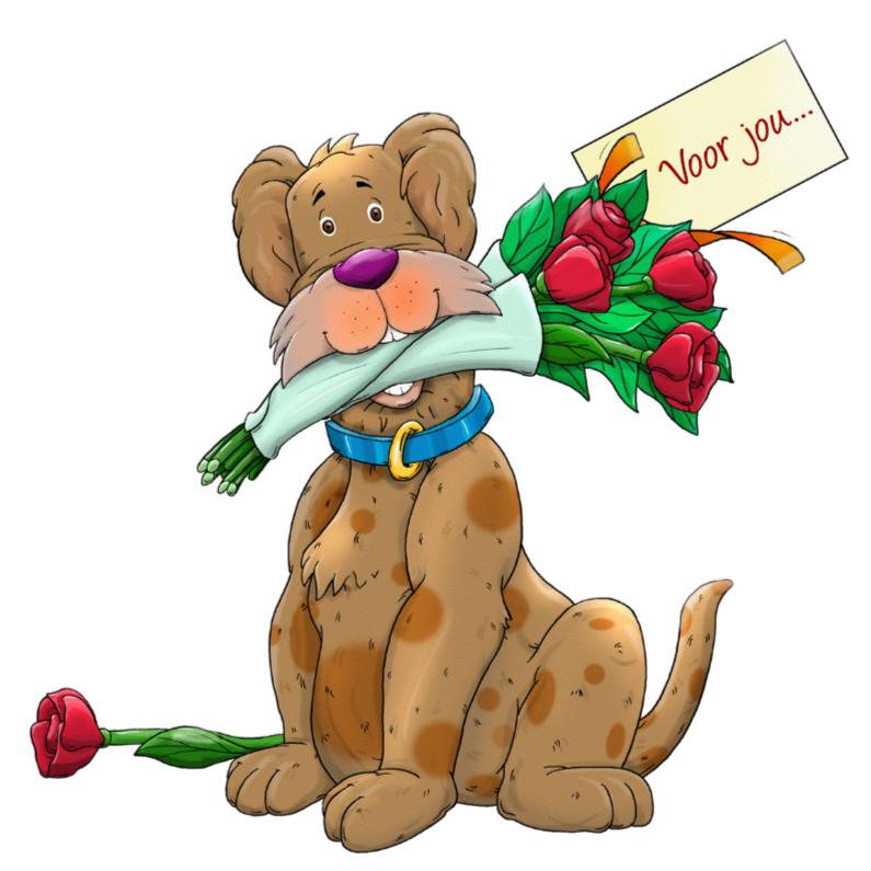 Dierenkaarten - Leuke dierenkaart met hond en rozen voor jou