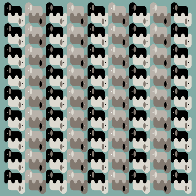 Dierenkaarten - Olifanten in een blauw en grijs patroon