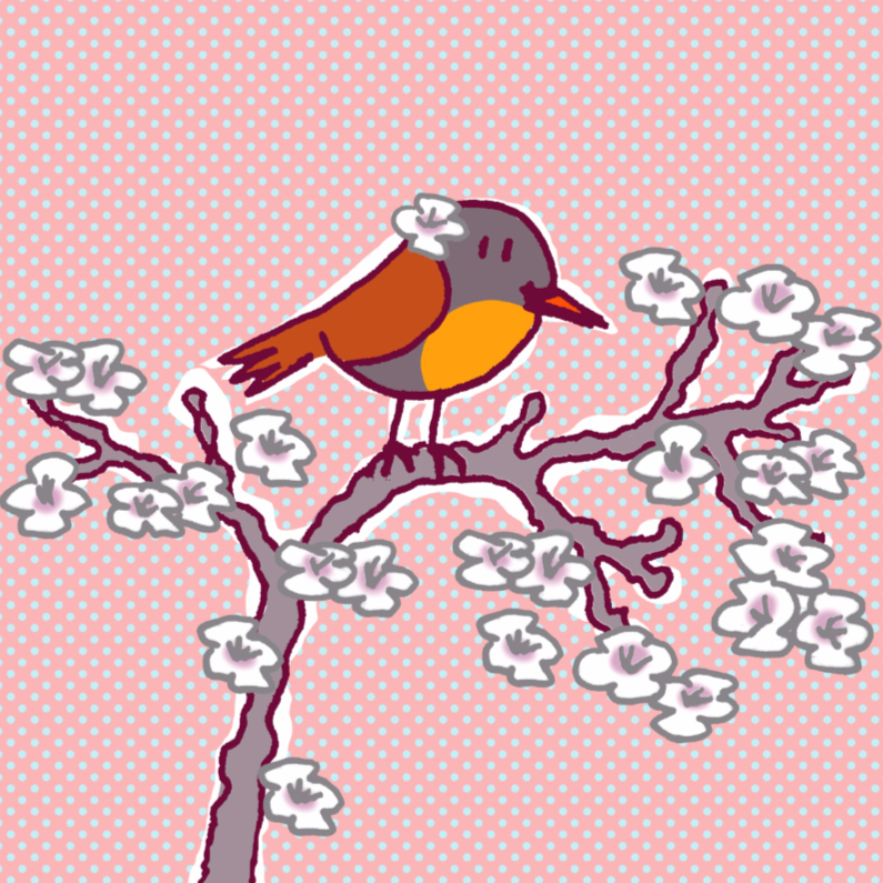Zomaar kaarten - roodborstje met bloem