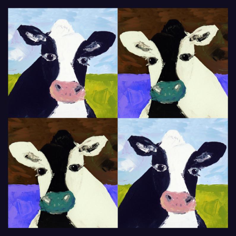 Dierenkaarten - Schilderij combinatie abstracte koeien