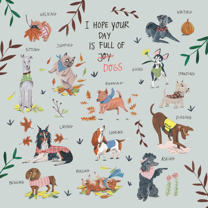 Dierenkaarten - Verjaardagskaart honden en planten