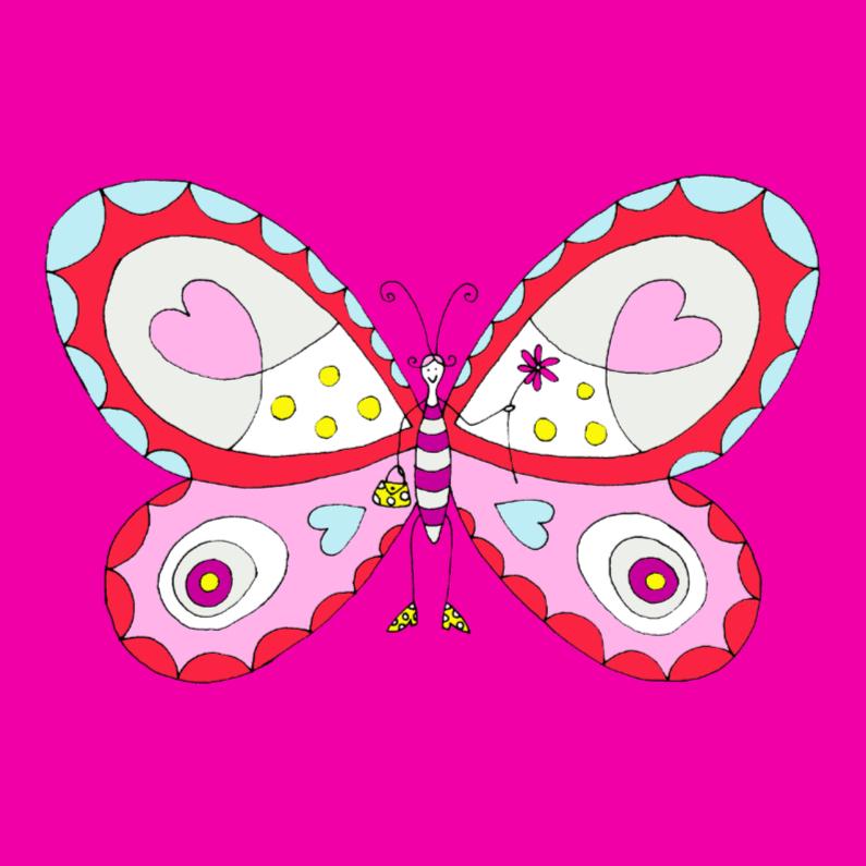 Dierenkaarten - Vlinder met een tasje