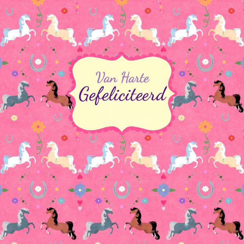 Dierenkaarten - Vrolijk paardenpatroon