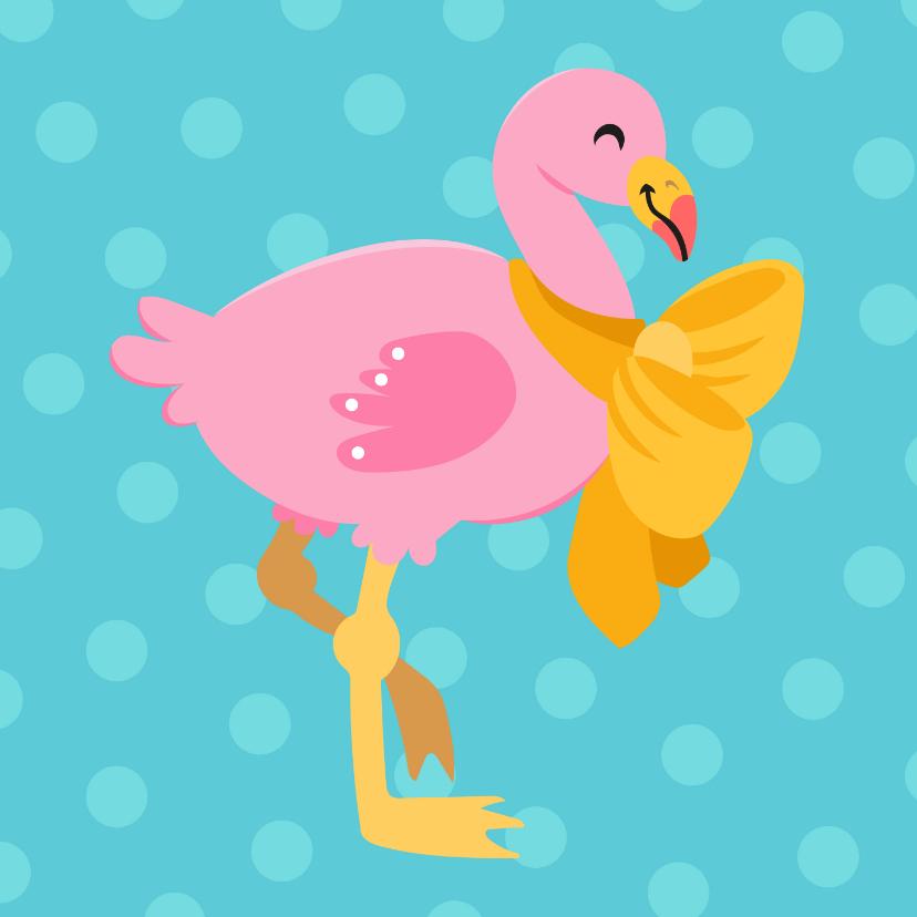 Dierenkaarten - Vrolijke en kleurrijke dierenkaart met baby flamingo