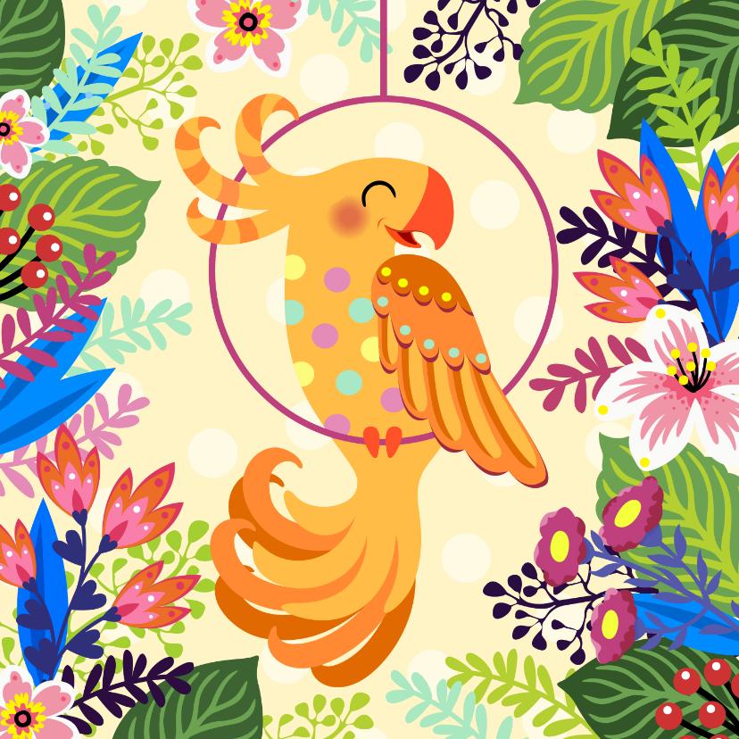 Dierenkaarten - Vrolijke kaart met papegaai en bloemen