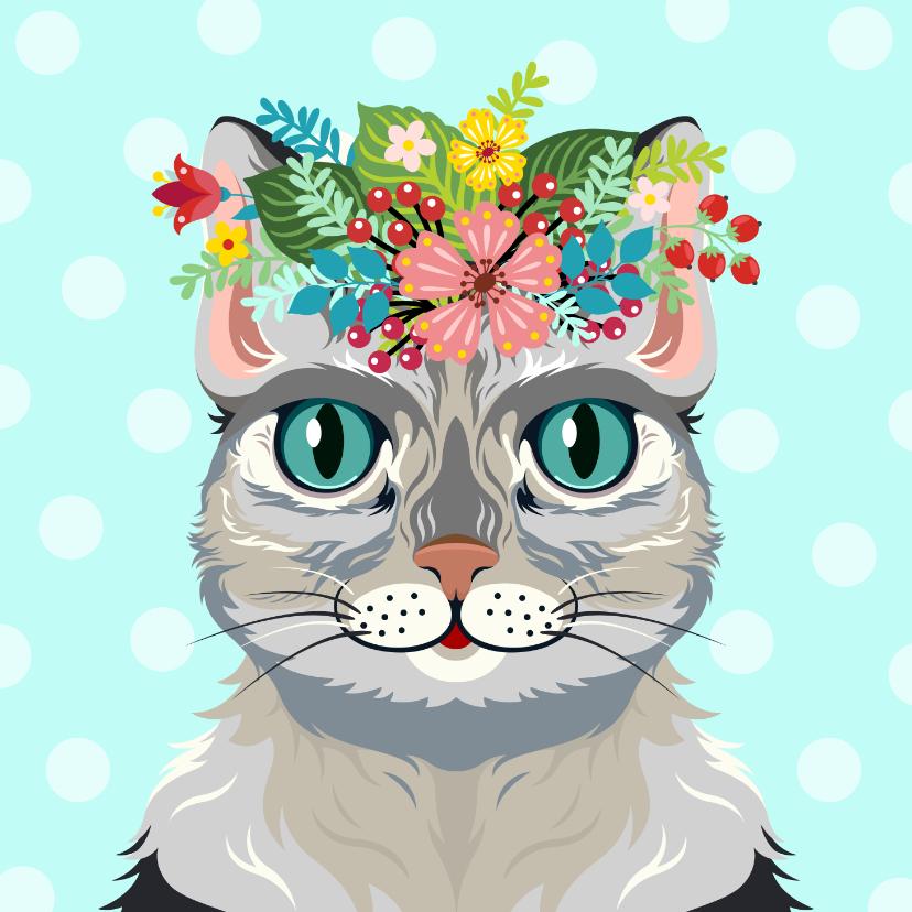Dierenkaarten - Vrolijke kat dierenkaart met botanisch thema