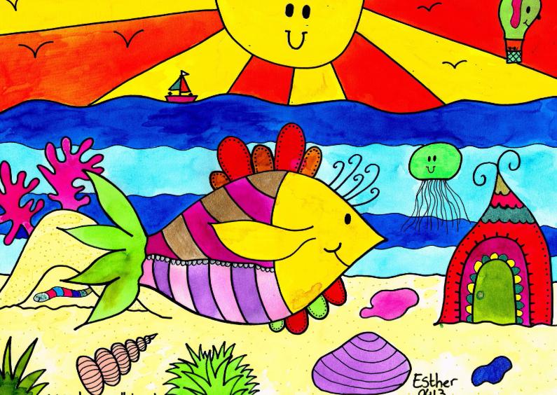 Dierenkaarten - Vrolijke vis met zon