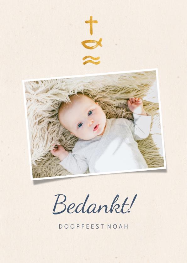 Doopkaarten - Bedankkaart doopfeest christelijke symbolen en foto