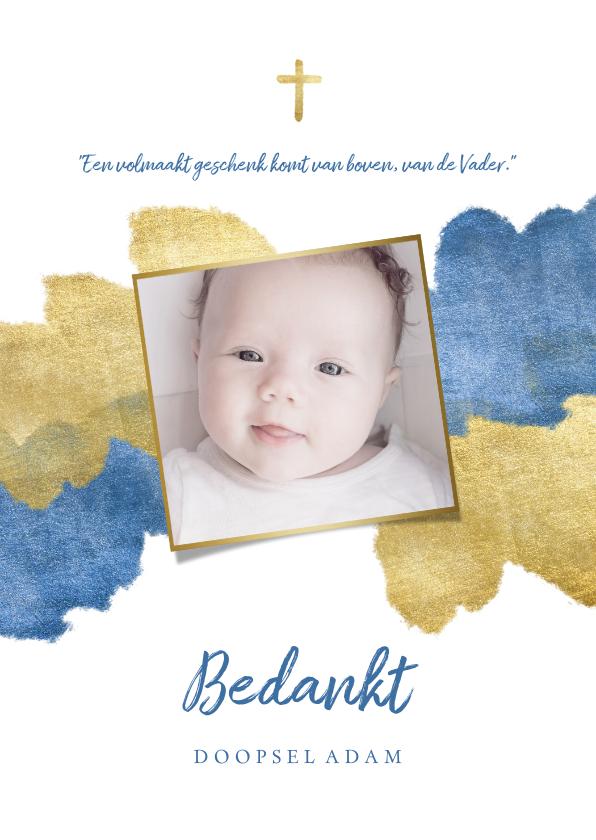 Doopkaarten - Bedankkaart doopfeest foto metallic blauw