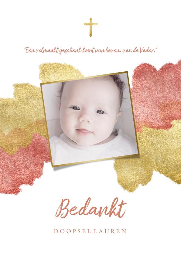 Doopkaarten - Bedankkaart doopfeest foto metallic roze
